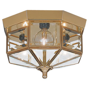 Oxford Polished Brass Small Flush Mount Ceiling Light