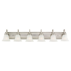 George Six-Light Antique Brushed Nickel Bath Light with Satin EtchedGlass