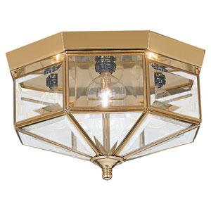 Oxford Polished Brass Large Flush Mount Ceiling Light