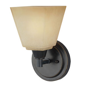 Webster Bronze One-Light Wall Sconce with Creme Parchment Glass