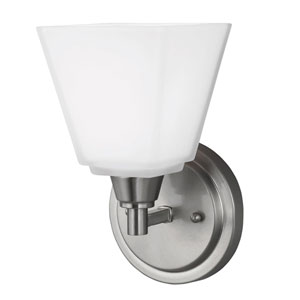 Webster Brushed Nickel One-Light Wall Sconce with Etched Glass Painted White Inside