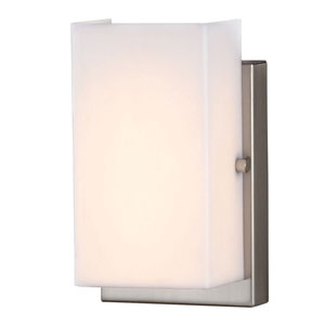 Essex Brushed Nickel LED Vertical Wall Sconce with Rectangular White Acrylic Diffuser