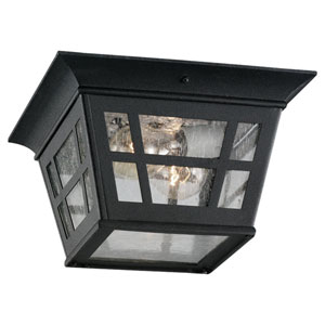 Uptown Two-Light Black Outdoor Flush Mount