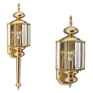Oxford Polished Brass Outdoor Wall Sconce