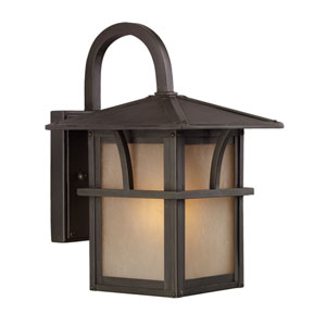 Ava Lakes One-Light Statuary Bronze Outdoor Wall Lantern with Etched Hammered with Light AmberGlass