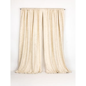 Whittier Ivory 50 x 108-Inch Embroidered Cotton Crewel Curtain Single Panel