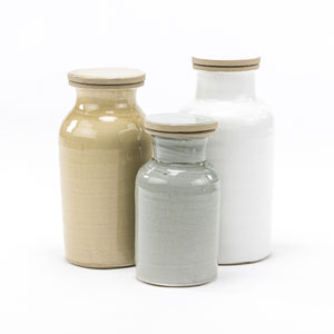 Linden Set of 3 Multicolor Ceramic Canisters