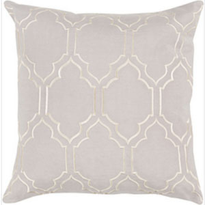 Linden Light Gray and Cream 18-Inch Pillow