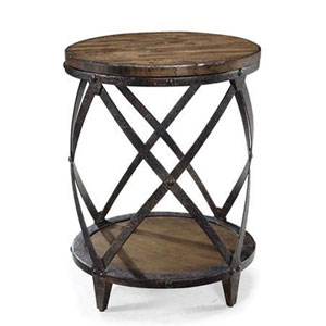 River Station Natural Pine Round Accent Table