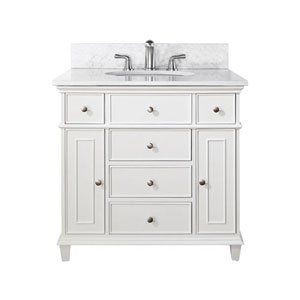 Selby Wood 36-Inch White Vanity with Carrera White Marble top and Undermount Sink