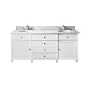 Selby Wood 72-Inch White Vanity with Carrera White Marble top and Dual Undermount
