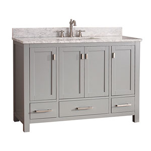 Uptown Soft Gray 48-Inch Vanity Combo with White Carrera Marble Top