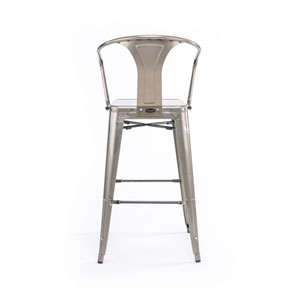 River Station Galvanized Metal Cafe Barstool, Set of Two