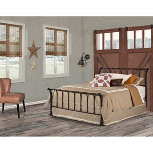 River Station Textured Black Queen Bed