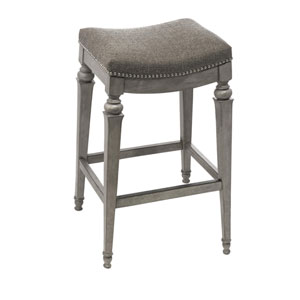 Selby Gray Backless Non-Swivel Counter Stool with Gray Fabric