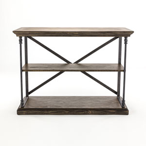 Afton Brown Medium Brown Reclaimed Wood and Iron Console Table