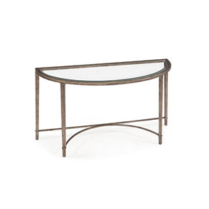 Linden Antique Silver and Metal Demilune Sofa Table