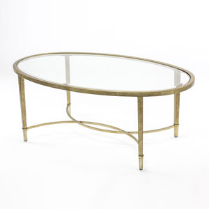 Linden Antique Silver and Metal Oval Cocktail Table