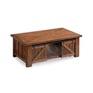 Afton Warm Pine Rectangular Lift-Top Cocktail Table with Casters