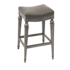 Selby Gray Backless Non-Swivel Bar Stool with Grey Fabric