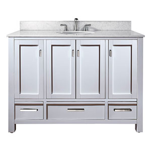 Uptown White 48-Inch Sink Vanity with Carrera White Marble Top