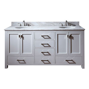 Uptown White 72-Inch Double Sink Vanity with Carrera White Marble Top