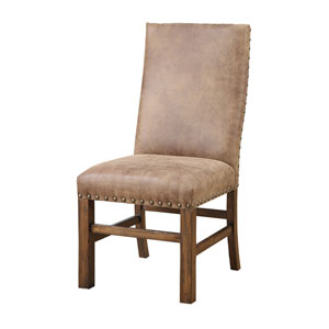 River Station Brown Side Chair with Nailhead, Set of 2
