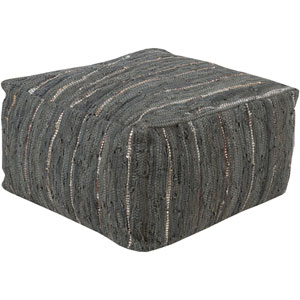 Afton Gray and Green Cube Pouf