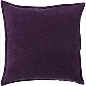 Loring Velvet Eggplant 18-Inch Pillow with Poly Fill