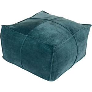 Loring Cotton Velvet Teal Cube Pouf