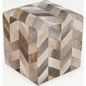 Fulton Neutral and Brown Cube Pouf