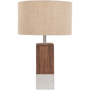 Afton Wood and White Table Lamp wiht Beige Shade
