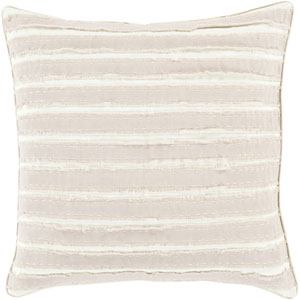 Quinn Taupe and Ivory 18-Inch Pillow with Poly Fill