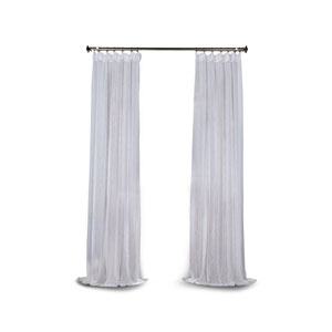 Grace White Solid Faux Linen 96 x 50-Inch Sheer Curtain