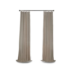 Grace Gray Solid Faux Linen 96 x 50-Inch Sheer Curtain