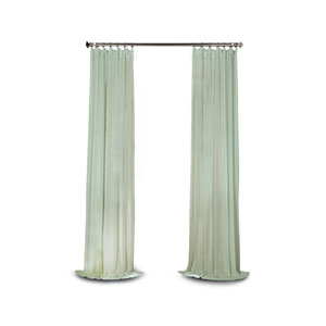 Grace Blue Solid Faux Linen 120 x 50-Inch Sheer Curtain
