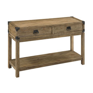 River Station Carmel Burnished Natural Two Drawer Console Table