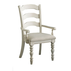 Grace Old White Ladder Back Arm Chair, Set of Two