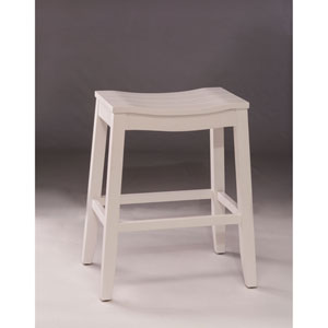 Grace White Backless Non Swivel Bar Stool