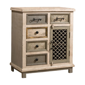 Quinn Dove Gray Five Drawer One Door Cabinet with Chicken Wire
