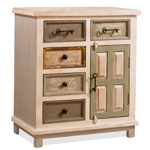 Quinn Dove Gray Five Drawer One Door Cabinet