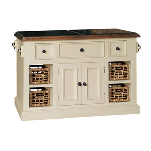 Grace Country White with Oxford Antique Pine Large Granite Top Kitchen Island