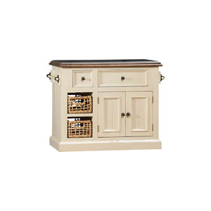 Grace Country White with Oxford Antique Pine Small Granite Top Kitchen Island