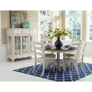 Grace Old White 5 Piece Round Dining Set with Ladder Back Chairs