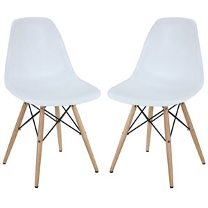 Nicollet Dining Chairs in White, Set of Two