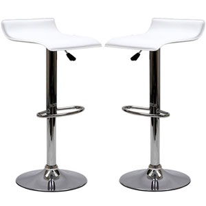 Uptown Bar Stools in White, Set of Two