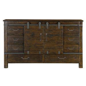 Fulton Rustic Pine Sliding Door Dresser