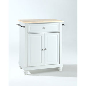 Selby Natural Wood Top Portable Kitchen Island in White Finish