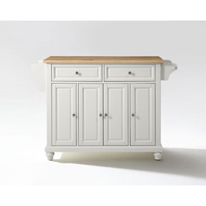 Selby Natural Wood Top Kitchen Island in White Finish