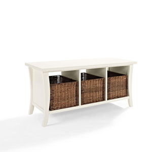 Hayden White Entryway Storage Bench